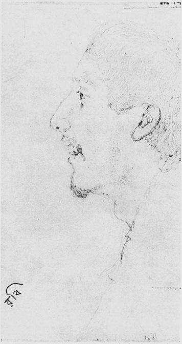 રવીન્દ્રનાથ ટાગોર 1881માં વીસ વર્ષની વયે. જ્યોતિરિન્દ્રનાથ ટાગોરનું રેખાંકન. (સૌજન્ય: રવીન્દ્ર ભારતી, કલકત્તા).