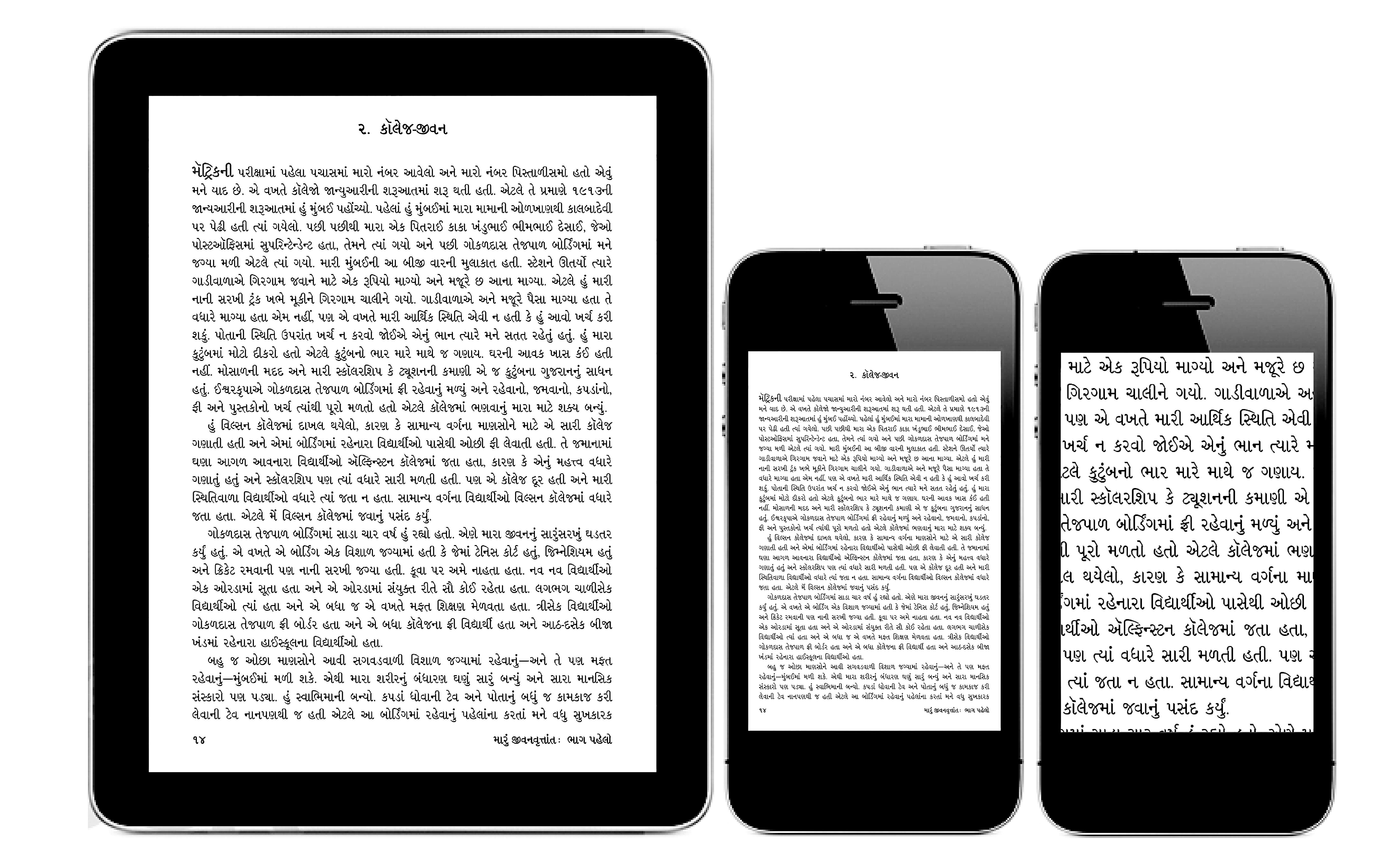 PDF Format: છાપેલાં પુસ્તકનાં પાનાંની pdf ફાઇલ ને ઈ-બુક તરીકે વાંચતાં જો સાધન મોટું  હોય તો મૂળ પુસ્તકની નજીકનો અનુભવ થાય છે. પાનાંની ગોઠવણી, પાનાનંબર, રનિંગ હેડર-ફૂટર વગેરે જેમના તેમ જ રહે છે. પરંતુ જો ફોન જેવા નાના સાધનમાં વાંચવામાં આવે તો ટાઇપ ઘણા નાના લાગે... અને જો ઍન્લાર્જ કરીને જોવામાં આવે તો ફક્ત આખા પાનાનો થોડોક ભાગ જ જોઈ શકાય.